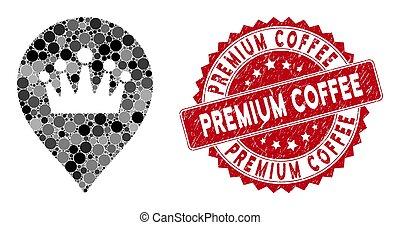 couronne, marqueur, café, prime, mosaïque, cachet, gratté