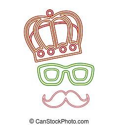 couronne, néon, décoration, nuit, fête, moustache, lunettes