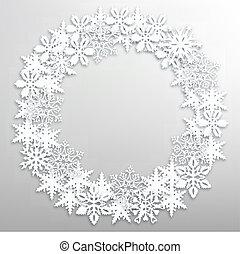 couronne, noël, flocons neige