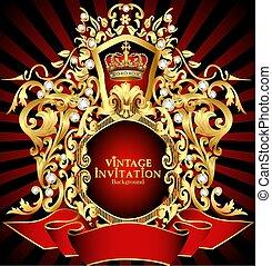 couronne, noble, gold(en), modèle, fond, illustration