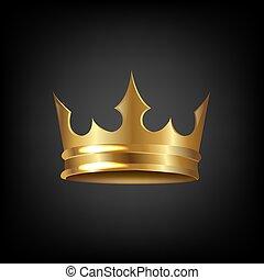 couronne or, isolé, fond, noir