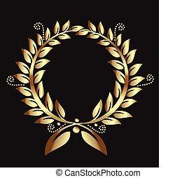 couronne, or, logo, laurier, récompense