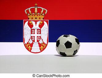 couronne, plancher, couleur, image, sport., serbian, aigle, bleu, drapeau, concept, rouges, petit, nation, football, blanc, arrière-plan.