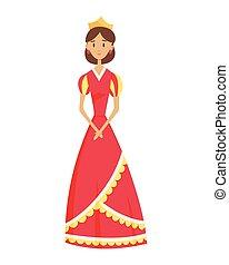 couronne princesse, période, royal, moyen-âge, royaume, caractère, robes, âges, vecteur, historique, illustration., milieu