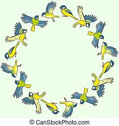 couronne, printemps, comique, style, oiseaux, titmouse, ...