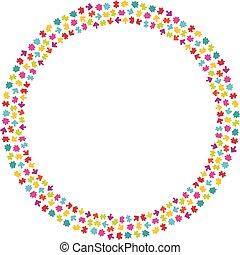 couronne, puzzle, puzzle, pieces., coloré