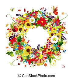 couronne, quatre, conception, floral, ton, saisons