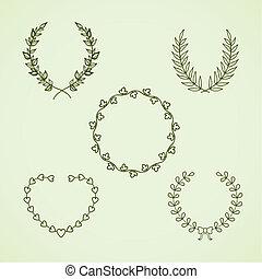 couronne, retro, calligraphic