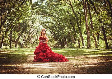 couronne, robe, princesse, nuageux, rouges