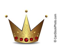 couronne, royal, illustration, or, réaliste