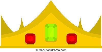 couronne royale, isolé, or, icône