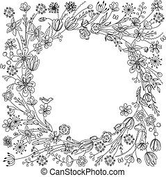 couronne, stylisé, floraison, branches, contour