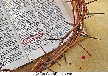 couronne, sur, bible