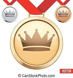 couronne, symbole, médaille, intérieur, or