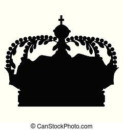 couronne, vecteur, silhouette