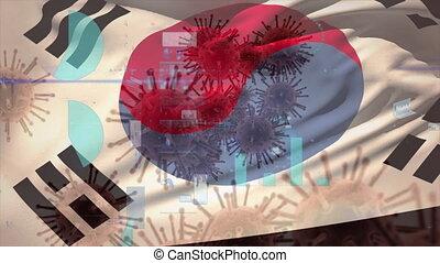 couronne, virus, drapeau, coréen, macro, soulevant en vagues...