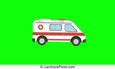 couronne, virus, vert, écran, ambulance