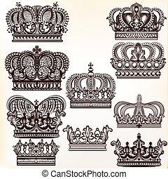 couronnes, conception, collection, vecteur, royal