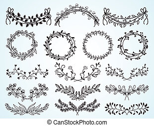couronnes, floral, hand-drawn, ensemble, frontières