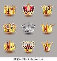 couronnes, icônes, vecteur, ensemble