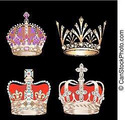 couronnes, noir, or, fond, ensemble