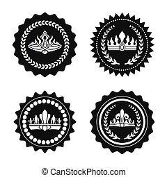 couronnes royales, timbres, couronnes, noir, laurier