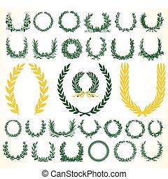 couronnes, vecteur, laural, victoire