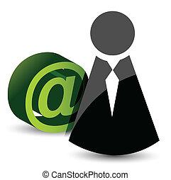 courrier, att, icône, -, signe