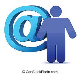 courrier, att, signe, icône