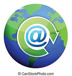 courrier, att, sur, globe, signe