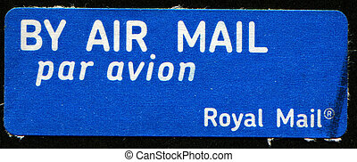 courrier, autocollant, air