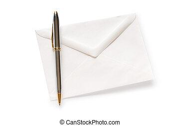 courrier, blanc, concept, enveloppe, isolé