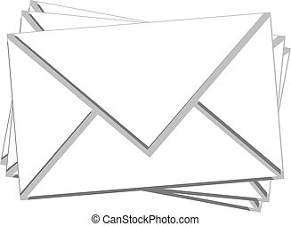 courrier, blanc, pile, isolé