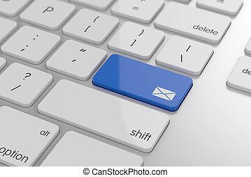 courrier, bouton, enveloppe, signe
