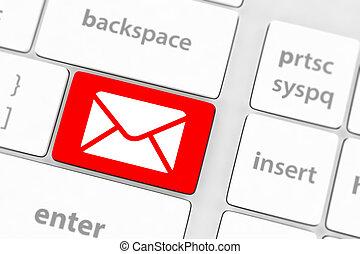 courrier, bouton, gris, clavier
