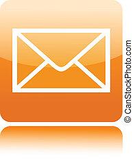 courrier, bouton, icône