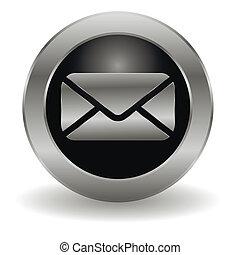courrier, bouton, métallique