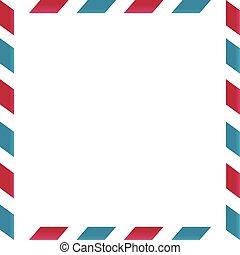 courrier, cadre, fond blanc, air
