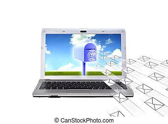 courrier, concept, électronique, (email)