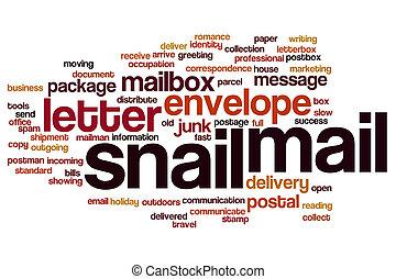 courrier, concept, mot, escargot, nuage