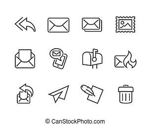 courrier, contour, icônes