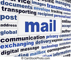 courrier, créatif, message, concept