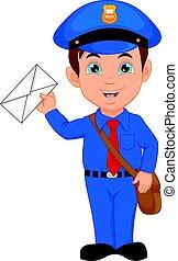 courrier, dessin animé, tenue, facteur