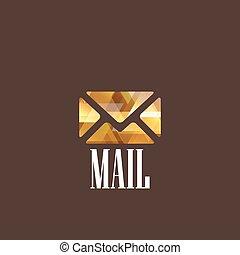 courrier, diamant, illustration, icône