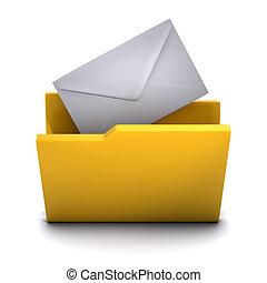 courrier, dossier, 3d