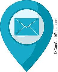 courrier, emplacement, icône