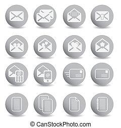 courrier, ensemble, icônes