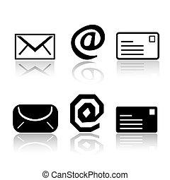 courrier, ensemble, variations, icône, 6