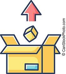 courrier, exportation, vecteur, livraison, sending., paquet, box., illustration, isolé, service., commerce, international, carton, logistique, couleur, icon., marchandise, rgb, jaune