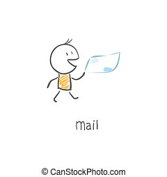 courrier, facteur, livrer